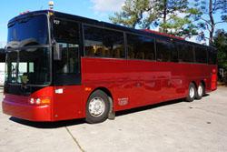 Maroon VanHool  57 passenger charter bu