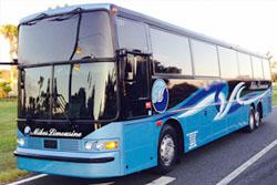 White VanHool  57 passenger charter bus